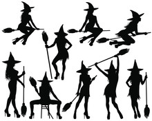 Silhouettes Of Halloween Witch...