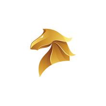 Modern Gold Gradient Of Horse Stallion Knight Logo Icon Vector