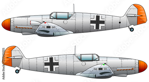 Fotografie, Obraz  Old military aircraft fighter on white background, vector illustration