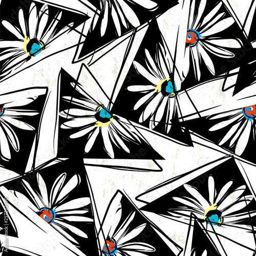 floral seamless background pattern, with triangles, paint strokes and splashes, black and white