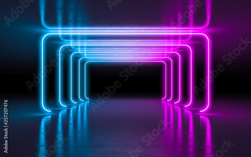Abstract Background Purple And Blue Neon Glowing Lights In