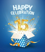 15 Th Years Anniversary And Open Gift Box With Explosions Confetti. Isolated Design Element. Template Fifteenth Birthday Celebration On Blue Background Vector Illustration