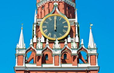 Kremlin chiming clock on the Spasskaya Tower. Noon. Moscow. Russia
