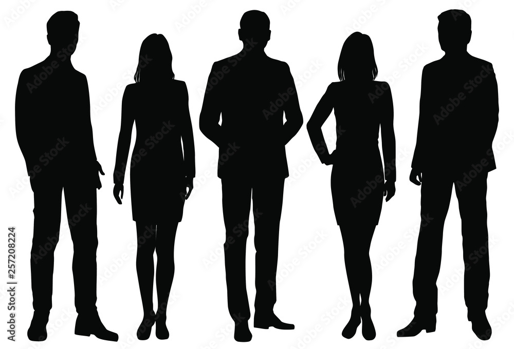 Fototapeta Vector silhouettes men and women standing, business,  people, group,  black color, isolated on white background