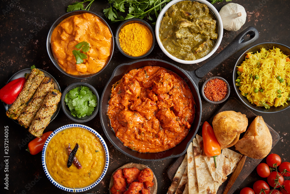 Fototapety, obrazy: Assortment of various kinds of Indian cousine on dark rusty table