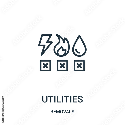 utilities icon vector from removals collection. Thin line utilities outline icon vector illustration. Linear symbol for use on web and mobile apps, logo, print media. Wall mural