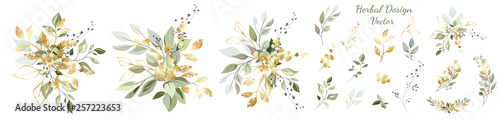 Fototapety, obrazy: Arrangement of decorative leaves and gold elements. Set: leaves, twigs, herbs, compositions of leaves, gold elements. Vector design.