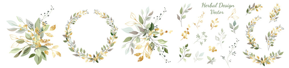 Set. Arrangement of decorative leaves and gold elements. Collection: leaves, twigs, herbs, leaf compositions, gold, wreath. Vector design.