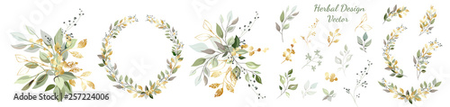 Fototapety, obrazy: Set. Arrangement of decorative leaves and gold elements. Collection: leaves, twigs, herbs, leaf compositions, gold, wreath. Vector design.