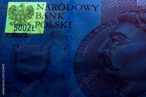 Pinturas sobre lienzo  Polish 500 zloty in UV rays
