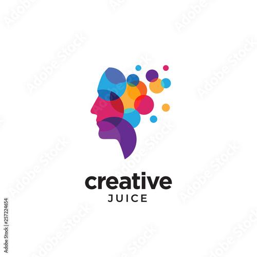 Digital Abstract human head logo for creative Poster Mural XXL