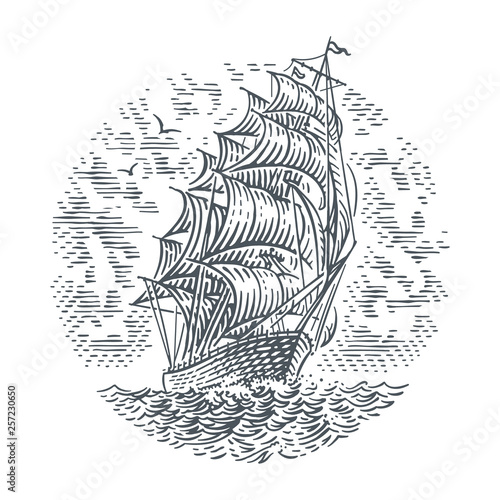 Foto Engraving style line illustration of sailing ship