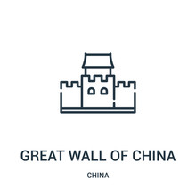 Great Wall Of China Icon Vector From China Collection. Thin Line Great Wall Of China Outline Icon Vector Illustration. Linear Symbol For Use On Web And Mobile Apps, Logo, Print Media.