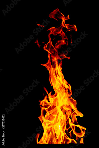 Wall Murals Fire / Flame Fire flame isolated on black isolated background - Beautiful yellow, orange and red and red blaze fire flame texture style.