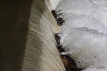 Water From Waterfall Splashes Off Rocks In North Georgia River