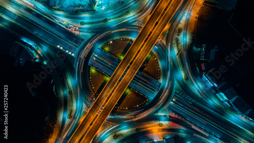 Expressway top view, Road traffic an important infrastructure in Thailand - 257240423