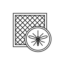 Mosquito Net Icon With Window And Mosquito Silhouette.