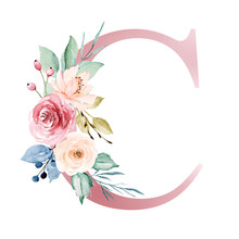 Floral Alphabet, Letter C With...