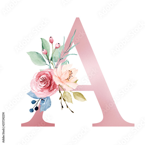 Leinwand Poster Floral alphabet, letter A with watercolor flowers and leaf