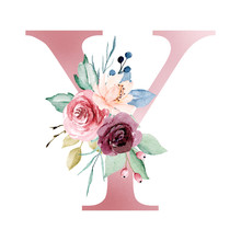Floral Alphabet, Letter Y With Watercolor Flowers And Leaf. Monogram Initials Perfectly For Wedding Invitations, Greeting Card, Logo, Poster And Other Design. Hand Painting.