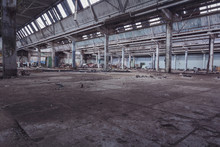 Destroyed Industrial Warehouse Or Factory, Demolition Concept