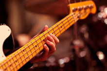 The Musician's Hand On The Bass Strings