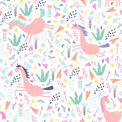 Magic unicorn seamless pattern. Colorful vector illustration in flat style.