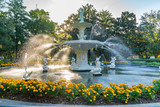 Fototapeta Sawanna - Fountain in Forsyth Park, Savannah