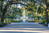 Fototapeta Sawanna - Fountain in Forsyth Park, Savannah