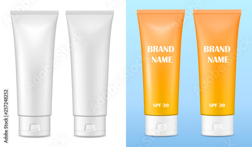 Leinwand Poster Vector realistic image (mock up, layout) of blank matte and glossy packaging for cosmetics