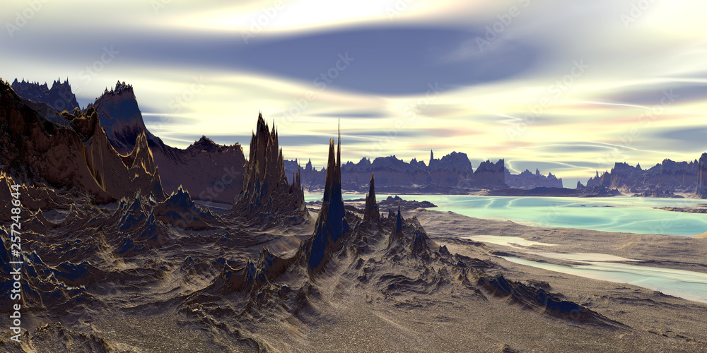 Fototapety, obrazy: Alien Planet. Mountain and  water. 3D rendering