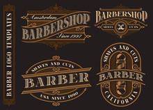 Set Of Vintage Barbershop Emblems, Logos, Badges.