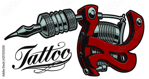 Canvas Print Coloured vector illustration of a tattoo machine