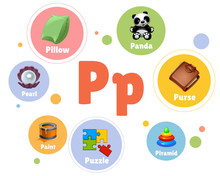 Vector Illustration Colored Set Objects With Letter P