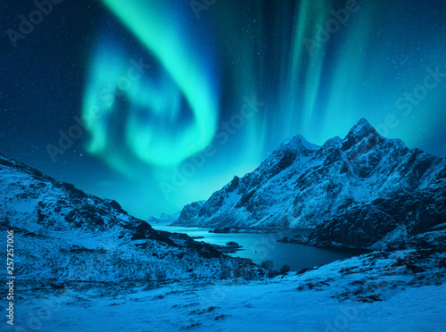 Poster Aurore polaire Aurora borealis above the snow covered mountains in Lofoten islands, Norway. Northern lights in winter. Night landscape with polar lights, snowy rocks, reflection in the sea. Starry sky with aurora