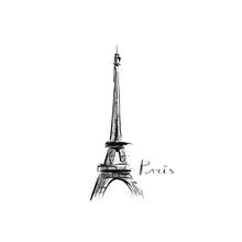 Eiffel Tower. Hand-drawn Illustration. Sketch, Vector