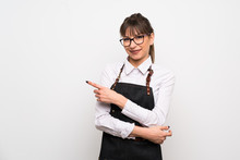 Young Woman With Apron Pointin...