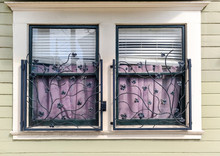 Windows With Vine Designed Wrought Iron Bars.
