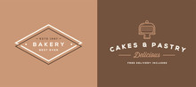 Double Set Of Vector Bakery Pastry Elements Shop Sign