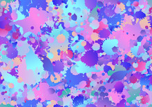 Colorful Seamless Pattern Background With Art Paint Drops, Spots. Grunge Layout Of Rainbow Blotch (different Colors Silhouette Of Splotches). Vector Multicolored Wallpaper