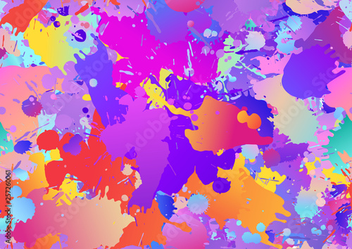 Photo Colorful seamless pattern background with art paint drops, spots