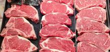 Steaks Displayed In Butcher Ca...