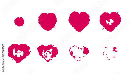 Valokuva  Heart Explosion Storyboard Sprite Set for Animation. Vector Set.