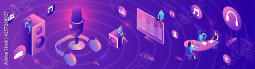 Isometric podcast horizontal banner, modern music radio show, audio blog concept Canvas-taulu