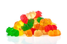Pile Of Multicolored Jelly Bears Candy On A White Background. Jelly Bean.