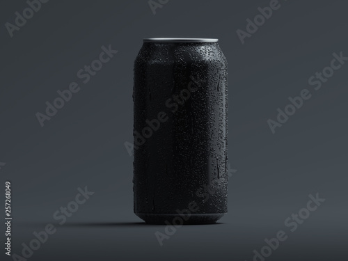 Fotografía Aluminum beer or soda can with droplets isolated on grey, 3d rendering