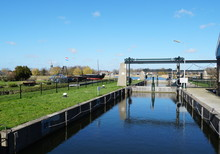 Sluice In The Village Of Broek Op Langedijk In The Langedijk Municipality, North Holland Province, The Netherlands.