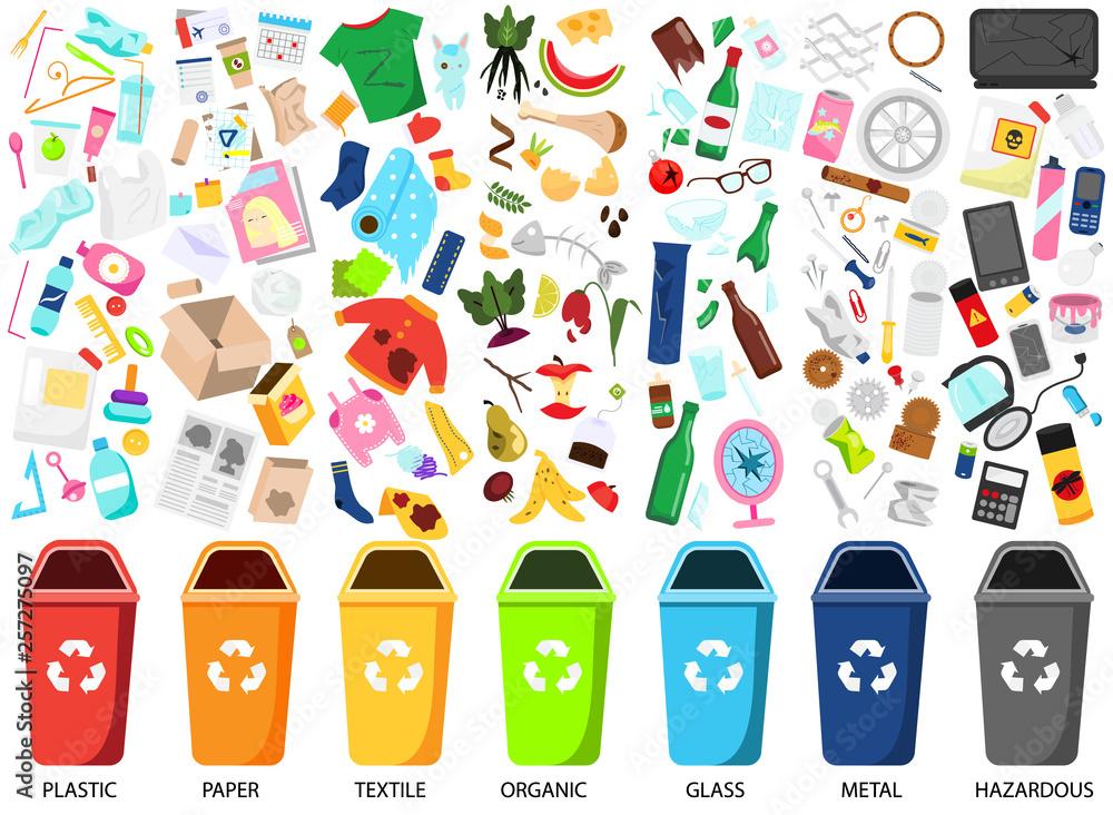 Fototapeta Waste sorting. Big collection of garbage types. Organic, paper, metal, hazardous, textile and other trash icons, bins