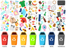 Waste Sorting. Big Collection Of Garbage Types. Organic, Paper, Metal, Hazardous, Textile And Other Trash Icons, Bins