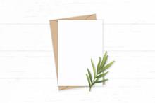 Flat Lay Top View Elegant White Composition Letter Kraft Paper Envelope Tarragon Leaf On Wooden Background
